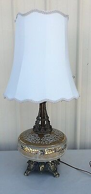 """Vintage Hollywood Regency Victorian Glass Table Lamp Shade Cream Gold Ornate """"a"""""""