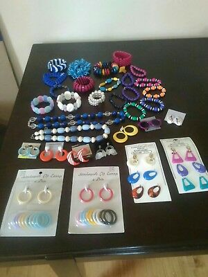 Vintage lot of Jewelry Retro 60's-80's Funky Bright Colors All in VG Condition