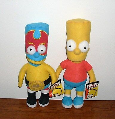 The Simpsons Bart Simpson El Guapo Wrestler Official Plush Doll Toy Lot New