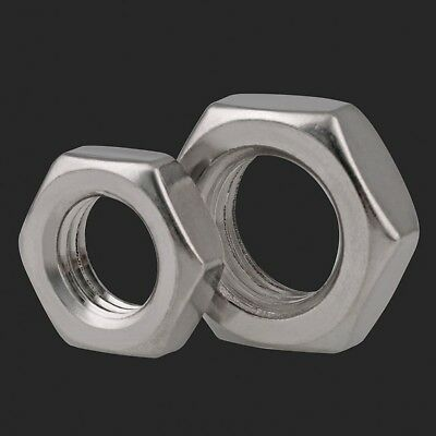 A2 Stainless Steel Fine Thread Hexagon Thin Nuts Half Thick To Fit Metric Bolts