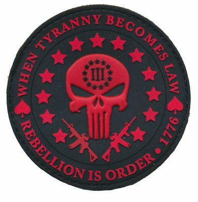 Tactical 3D PVC Red Three Percent Tyranny Punisher Liberty Morale Patch