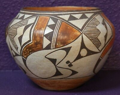 """Acoma Indian Pueblo Pottery 1940's Polychrome Decorated Jar 5"""" x 7"""""""