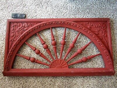 TIGER OAK Courthouse Door Transom Carved Victorian Architectural Fretwork Panel
