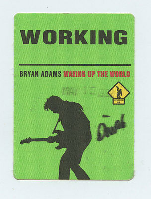Bryan Adams 1992 Waking Up The World Tour Backstage Pass