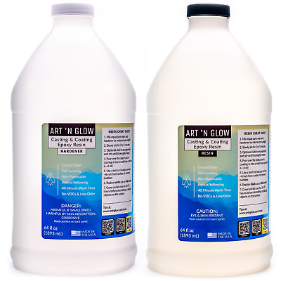 Epoxy Resin Crystal Clear Coating General Purpose Bar Tabletop - 1 Gallon Kit