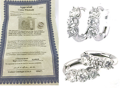 14k  WHITE GOLD HOOP EARRINGS WITH DIAMONDS 1.18 CT GIA APPRAISED