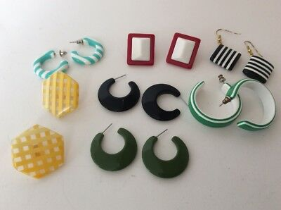 VINTAGE Earring Lot of Lucite Plastic Pierced and Hook  RETRO 80's Avon