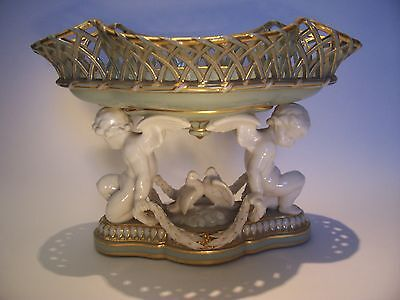 "Rare Minton Centerpiece Putti Cherub Basket Porcelain 7""deep-10 3/4 Wide-8 High"