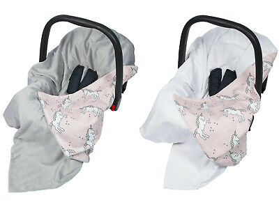 New Cotton & Soft Plush Baby Car Seat Blanket - unicorn & pink + white or grey