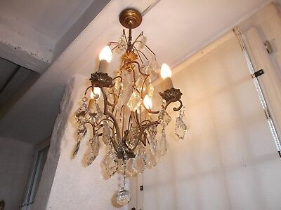 French 4 light chandelier bronze  crystals exquisite  antique/ vintage