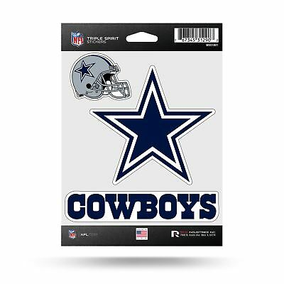 Dallas Cowboys Stickers Die Cut Decals 3-Piece Triple Spirit Sticker Sheet