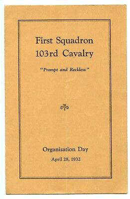 Pre-WWII First Squadron 103rd Cavalry Organization Day Unit History Program 1932