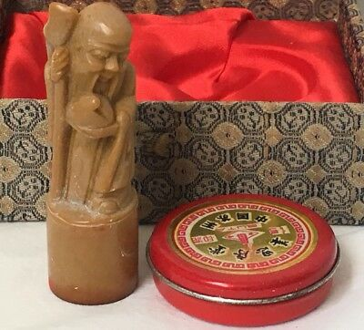 Vintage Chinese Man Wax Seal Stamp Set Carved Stone with Tin in Fabric Box
