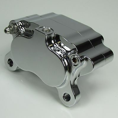Ultima CHROME 4-Piston Pot Brake Caliper Front Rear With PADS Harley Chopper