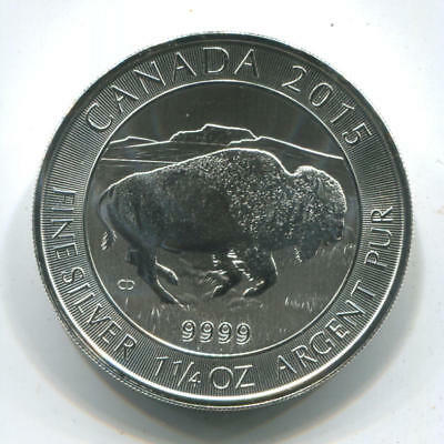 2015 Canada Bison $8 Dollars. 1.25 Oz .9999 Silver. Uncirculated