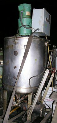 Three Vertical 55 Gal. Stainless Steel Tanks with Top Mounted Mixers Item #8682