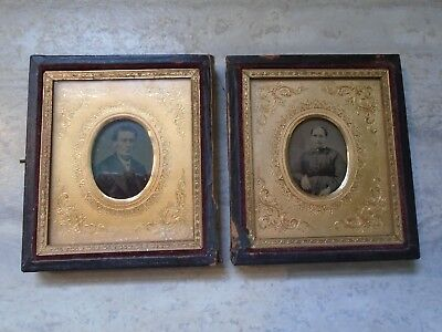 Antique Pair Of Deguerreotype Photographs Husband And Wife Ornate Background