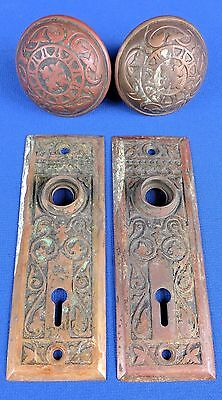 Antique Victorian Ornate Brass Door Knob Set Matching Plates Lock Hardware Pair