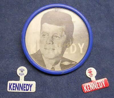 President John F. Kennedy scarce flasher button and pins circa 1960 campaign JFK