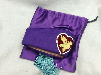 VINTAGE Purple Women LOYAL ORDER OF THE MOOSE WOTM PURPLE  Fez Hat Cap with Bag