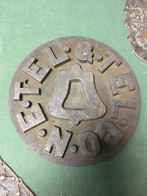 Rare Telephone And Telegraph Company New England Cast Iron Sign,c. 1878 No Bell