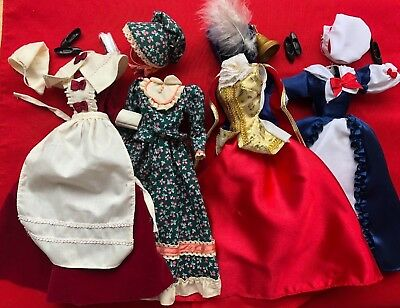 Genuine Mattel Lot of four Early American Barbie Outfits with Accessories