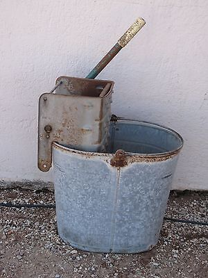 Mop Bucket & Wringer Galvanized Steel Industrial Home Decor Garden Art Vintage