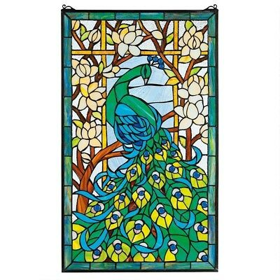 """Unique Peacock Hand Crafted Magnolias Lotus 23x35"""" Stained Glass Window Panel"""