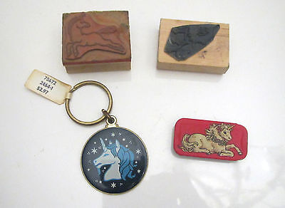 Vintage Unicorn Stamps, Keychain and Tin Box