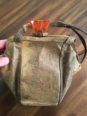 Old Vintage Snakeskin Purse w/ Red Orange Retro Closure Includes Coin Purse