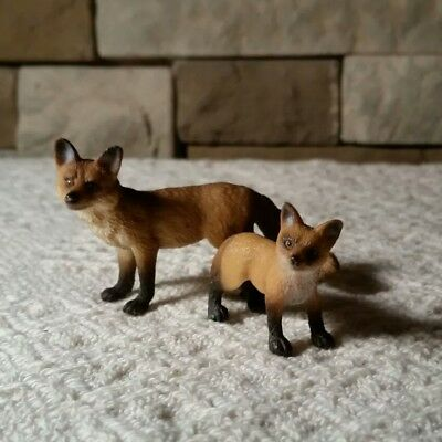 Schleich animal set Fox family mom and Pup baby