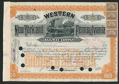 1895 Western, New York & Pennsylvania Railway Certificate with Revenue Stamps