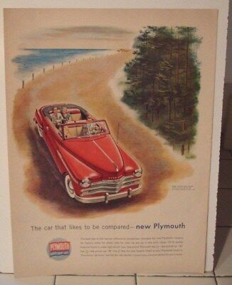 1949 PLYMOUTH CONVERTIBLE   ad advertisement