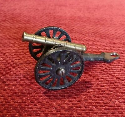 Vintage/Antique Cast Iron and Brass Cannon Toy Figurine