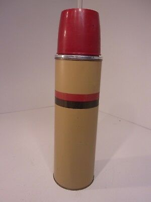 Vtg American Thermos Bottle Company 1 Quart Metal Vacuum Thermos w/ Cork Stopper