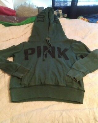 VICTORIAS SECRET PINK Womens Sweatshirt XS Green VS Pullover Extra Small