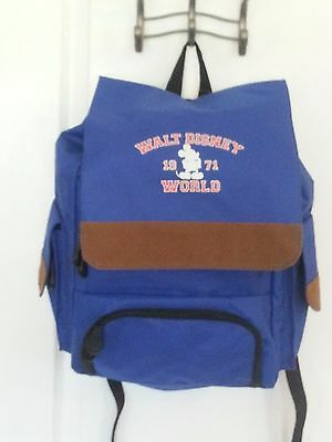 NEW Disney World Backpack Blue Travel Bag WDW Vacation Book Laptop Canvas Suede