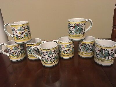 Italian Pottery - Deruta, etc., assortment of mugs, tray, canisters, oil vessel