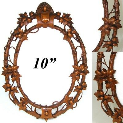 """Antique French Black Forest Style Carved 10"""" Picture Frame, Vines & Foliage"""