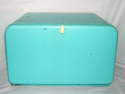 Vintage Lincoln Beautyware Turquoise Breadbox