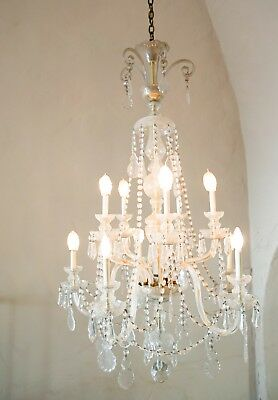 Antique LARGE 1920s 10 LIGHT CRYSTAL GLASS CHANDELIER * Maria Theresa * Nice!