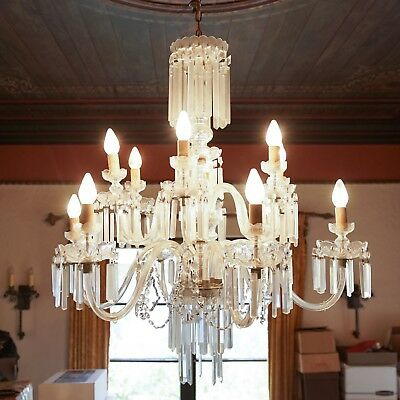 Antique LARGE 1920s 12 LIGHT CRYSTAL GLASS CHANDELIER • MARIA THERESA •ART DECO