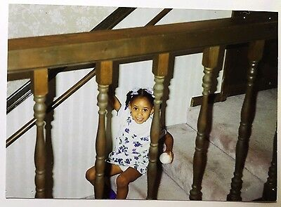 Vintage PHOTO Of A Little Girl Playing On The Stairs Taken Through The Banisters
