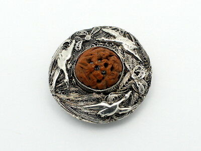 Fine Antique Chinese Silver Filigree Nut Carving Clip On Brooch