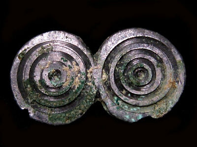 EXTREMELY RARE BRONZE AGE BILLON SILVER PLATED SPIRAL FIBULA +++As Found+++