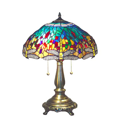 Blue Dragonfly Tiffany Style Table Lamp Warm Colorful Stained Glass Office Light
