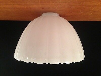 LARGE Antique/Vtg White Glass Art Deco Industrial Ceiling Light Fixture Shade