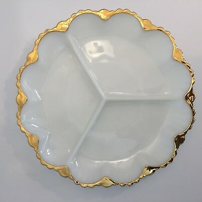 """Vintage White Milk Glass Divided Serving Plate Tray Dish Gold Trim Round 10"""""""