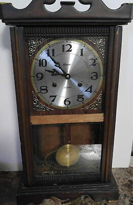 Vintage Alaron 31 Day Shelf Mantle Clock with Chime Hourly
