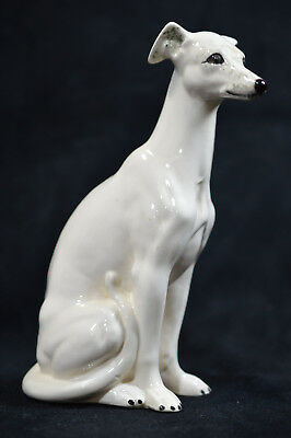 White Porcelain Sitting Whippet or Greyound Figurine